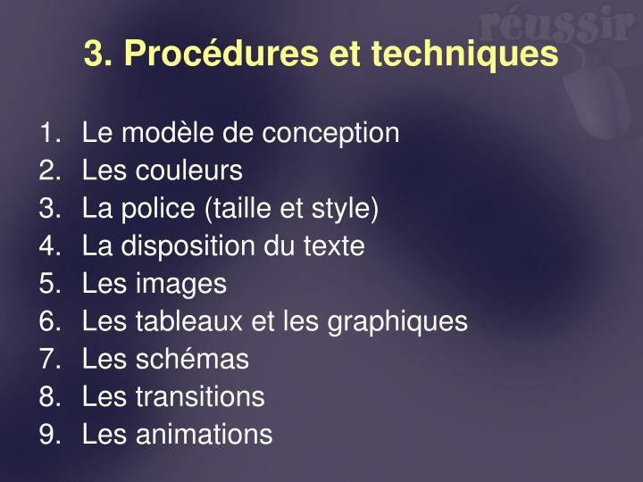 3. Procédures et techniques