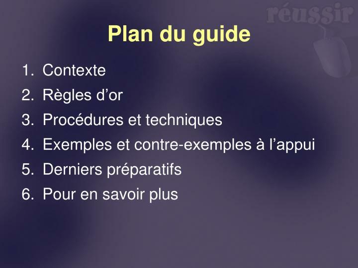 Plan du guide