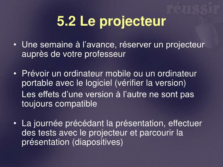 5.2 Le projecteur