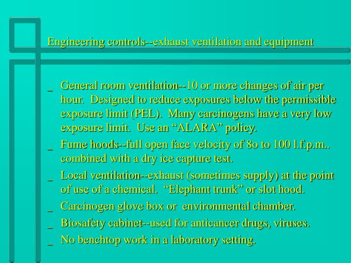 Engineering controls--exhaust ventilation and equipment