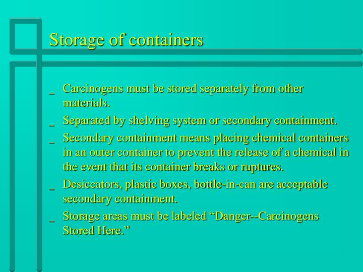 Storage of containers
