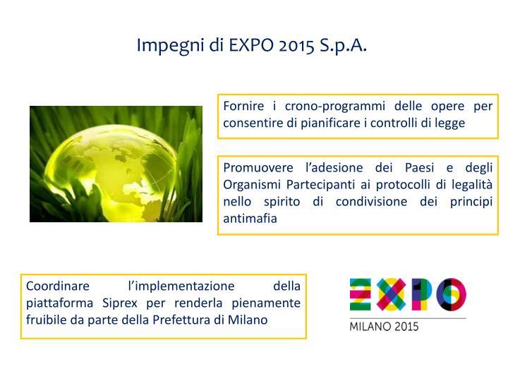 Impegni di EXPO 2015 S.p.A.