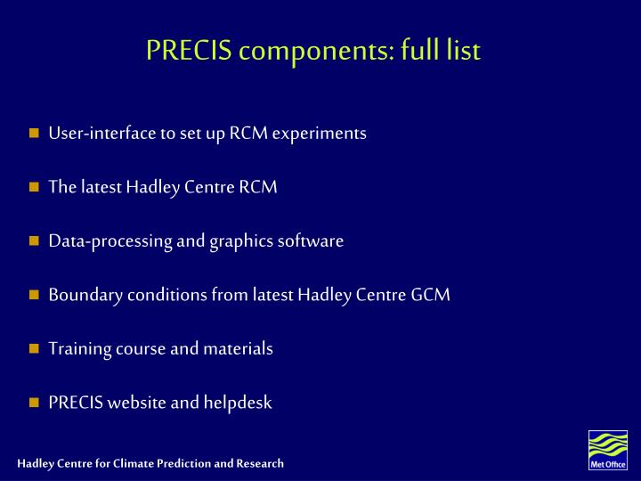 PRECIS components: full list