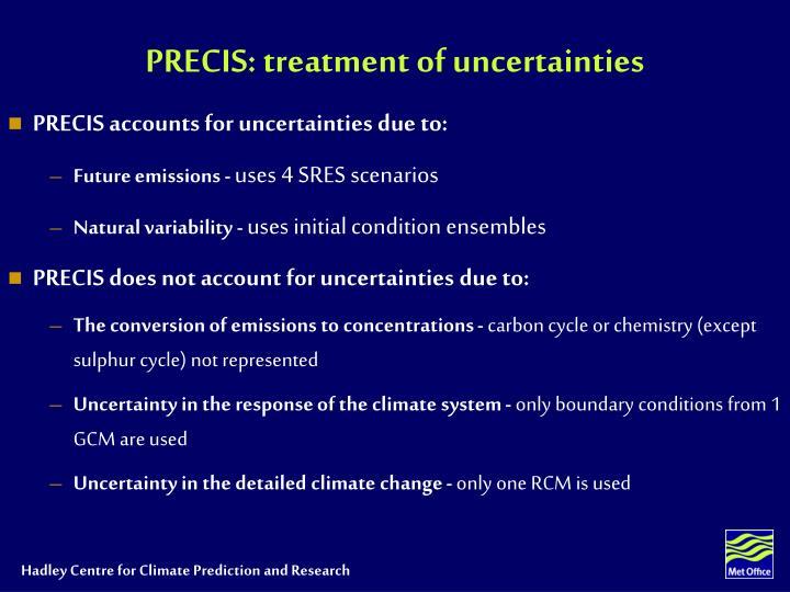 PRECIS: treatment of uncertainties