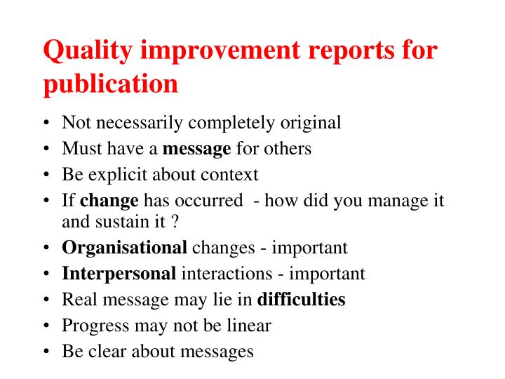 Quality improvement reports for publication