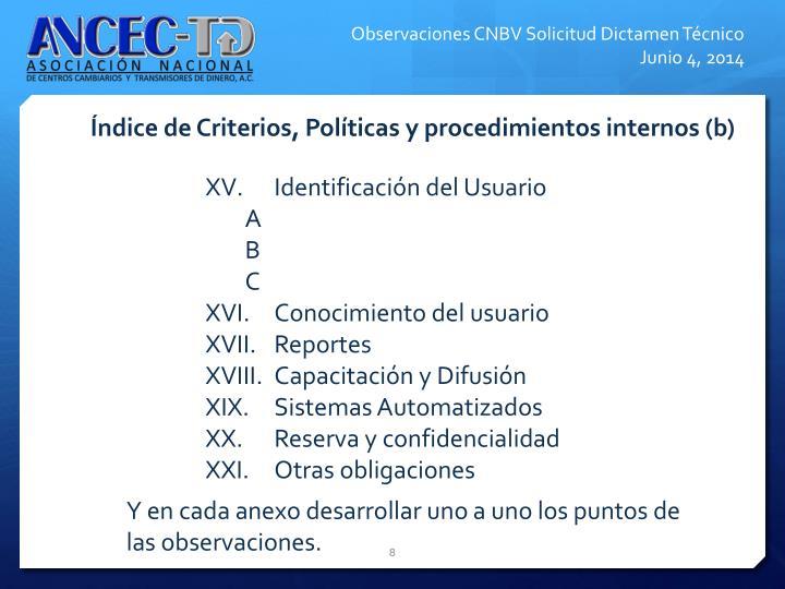 ndice de Criterios, Polticas y procedimientos internos (b)