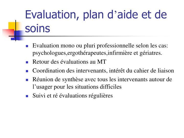 Evaluation, plan d