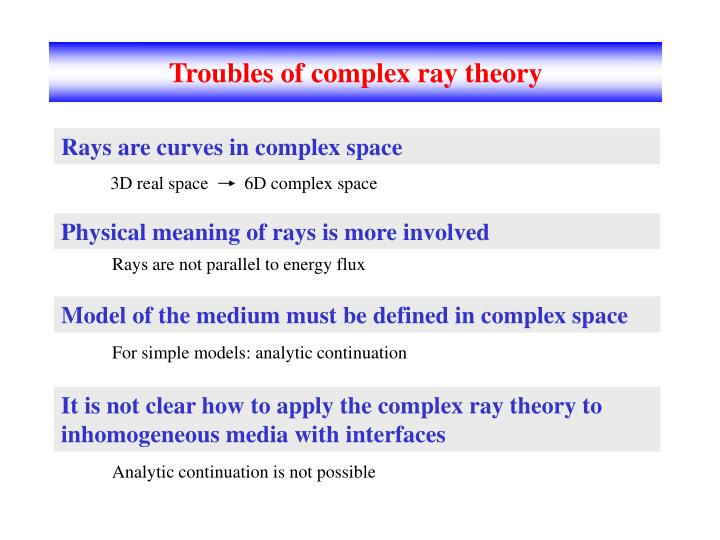Troubles of complex ray theory
