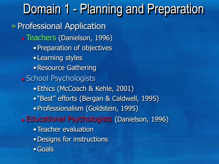 Domain 1 - Planning and Preparation