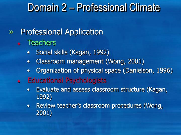 Domain 2 – Professional Climate