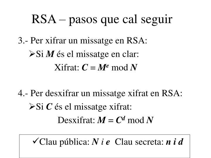 RSA – pasos que cal seguir