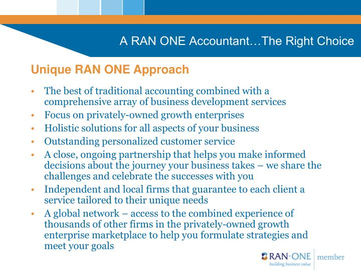 A RAN ONE Accountant…The Right Choice