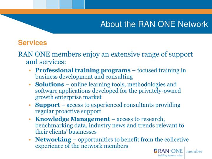 About the RAN ONE Network