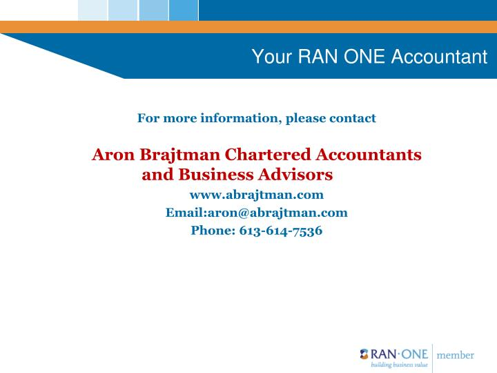Your RAN ONE Accountant