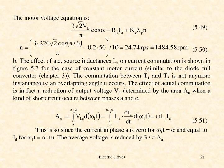 The motor voltage equation is: