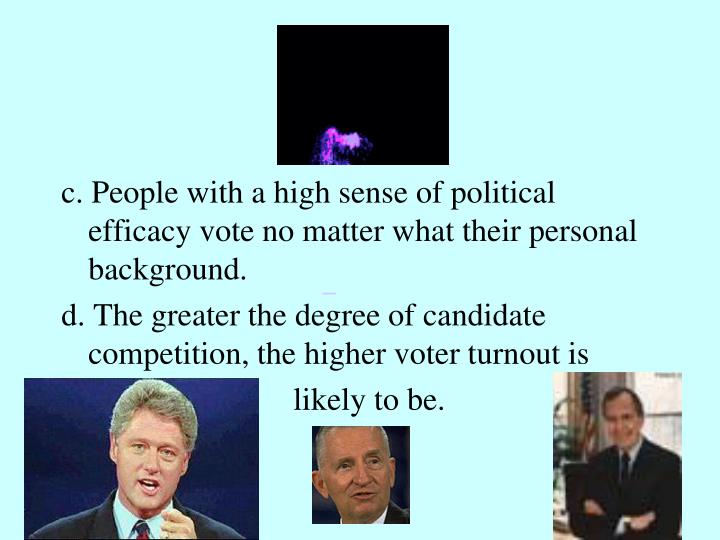c. People with a high sense of political efficacy vote no matter what their personal background.
