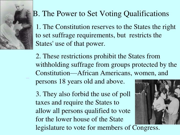 B. The Power to Set Voting Qualifications