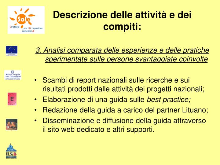 Descrizione delle attività e dei compiti: