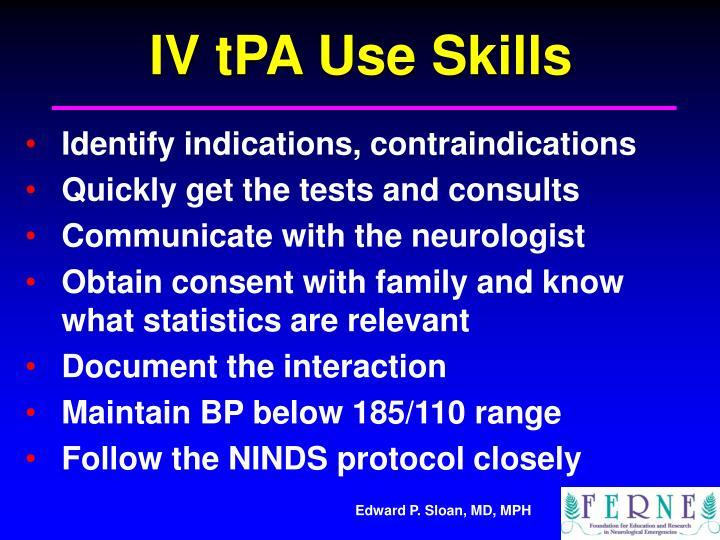 IV tPA Use Skills