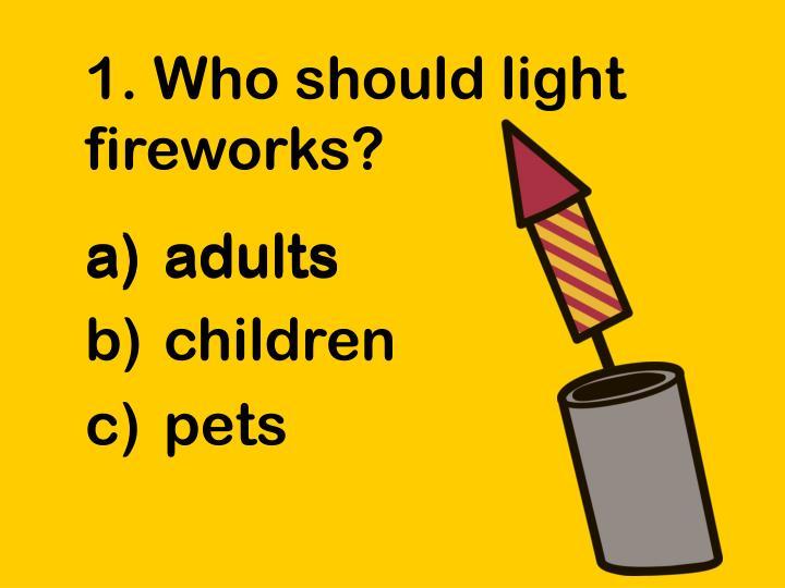 1. Who should light fireworks?