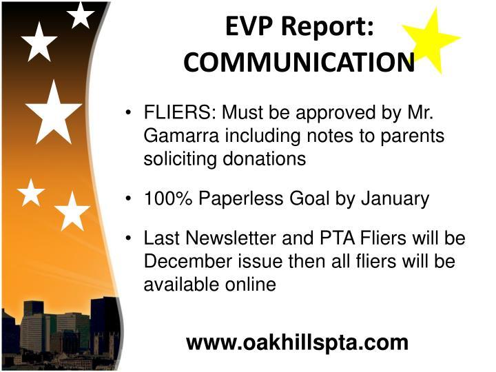 EVP Report: COMMUNICATION