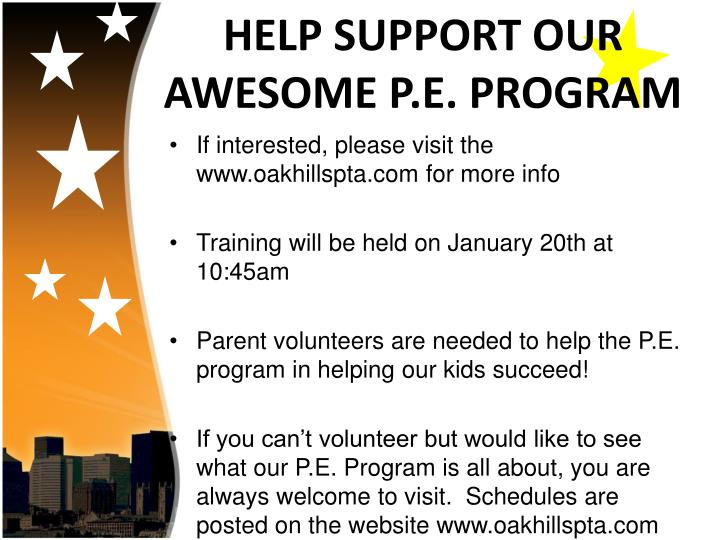 HELP SUPPORT OUR AWESOME P.E. PROGRAM