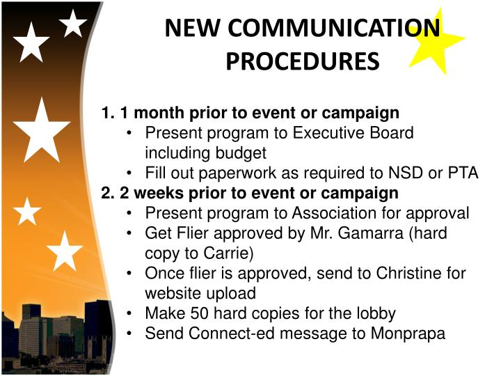 NEW COMMUNICATION PROCEDURES
