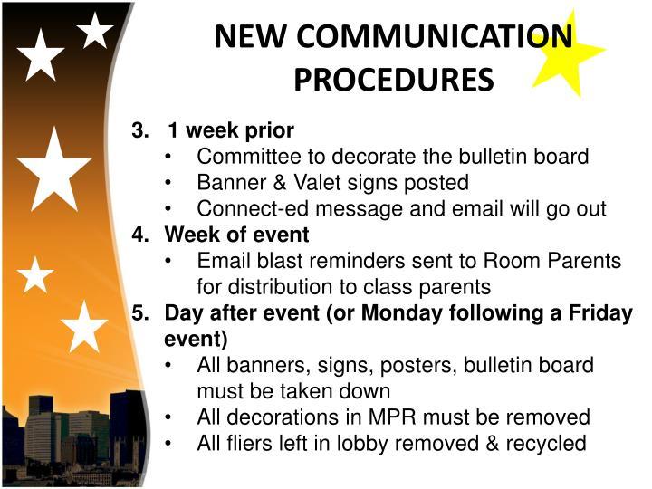 NEW COMMUNICATION PROCEDURES