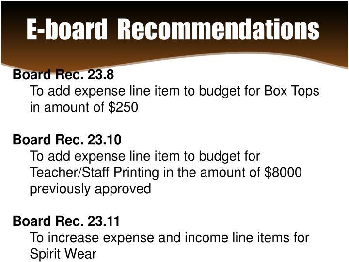 E-board  Recommendations