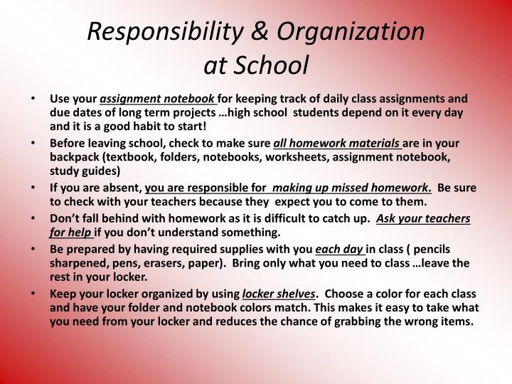 Responsibility organization at school