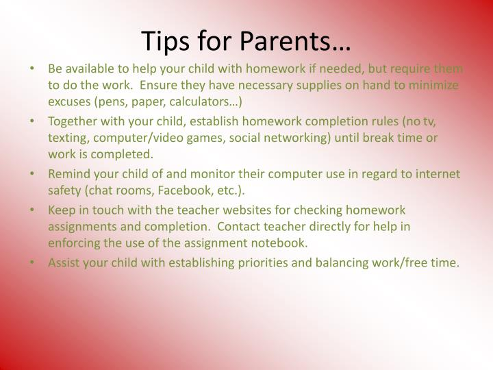 Tips for Parents…