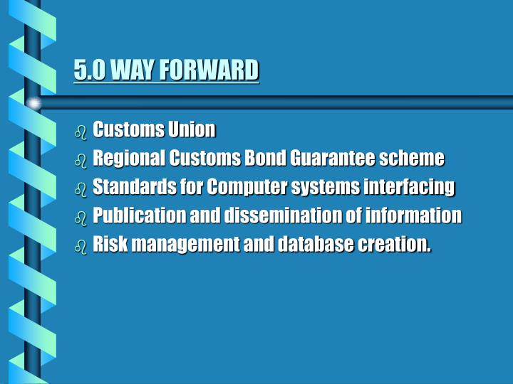 5.0 WAY FORWARD