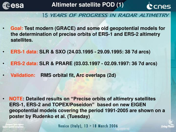 Altimeter satellite POD (1)