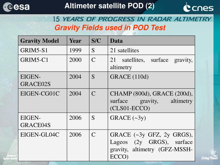 Altimeter satellite POD (2)
