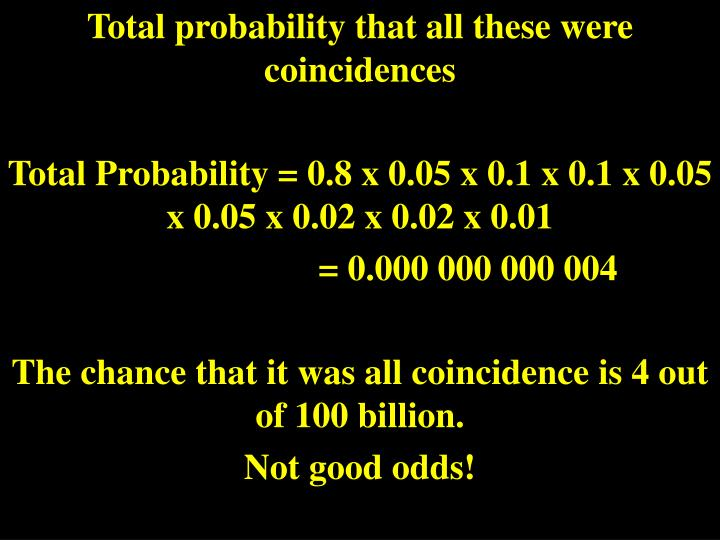 Total probability that all these were coincidences