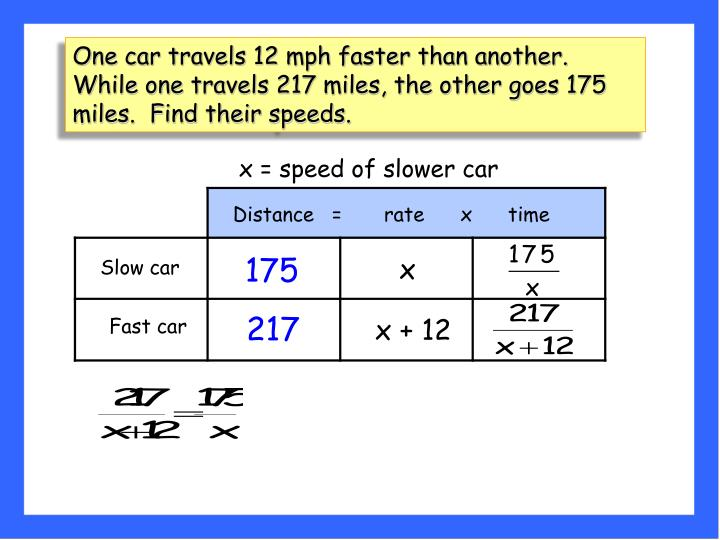 One car travels 12 mph faster than another. While one travels 217 miles, the other goes 175 miles.  Find their speeds.