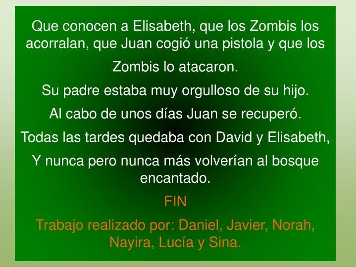 Que conocen a Elisabeth, que los Zombis los acorralan, que Juan cogió una pistola y que los
