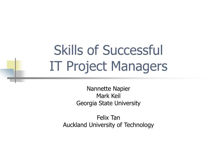 Skills of successful it project managers