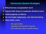 community system strategies