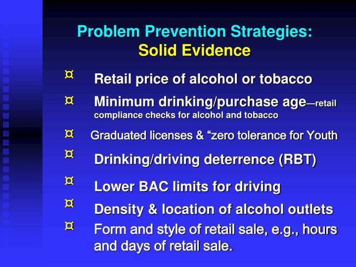 Problem Prevention Strategies: