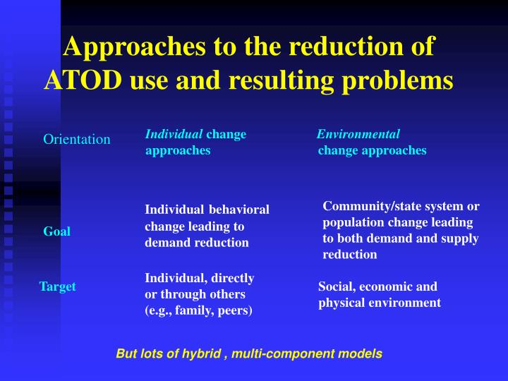 Approaches to the reduction of ATOD use and resulting problems