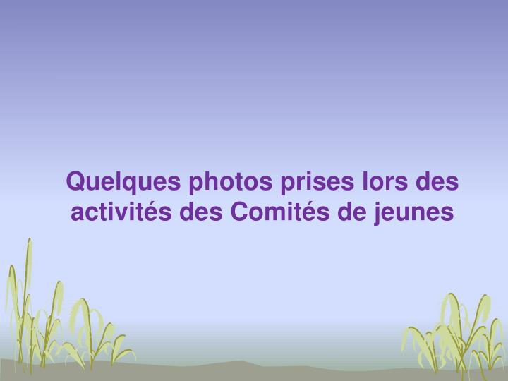 Quelques photos prises lors des activités des Comités de jeunes