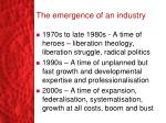the emergence of an industry