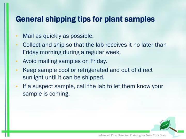 General shipping tips for plant samples