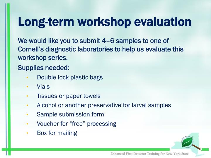 Long term workshop evaluation