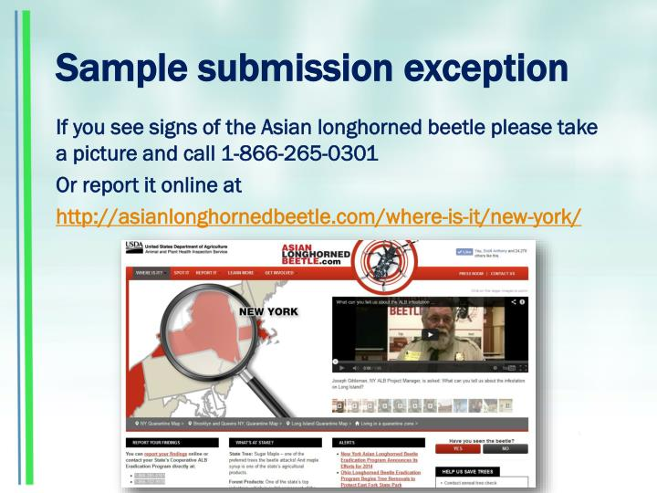 Sample submission exception