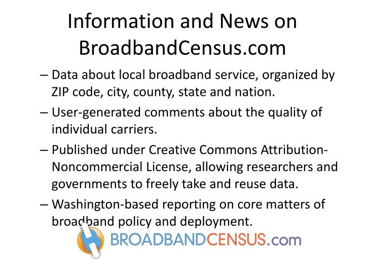 Information and News on BroadbandCensus.com