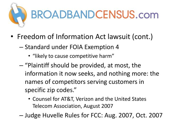 Freedom of Information Act lawsuit (cont.)