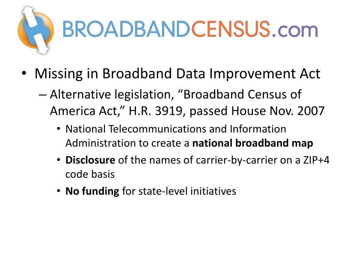 Missing in Broadband Data Improvement Act
