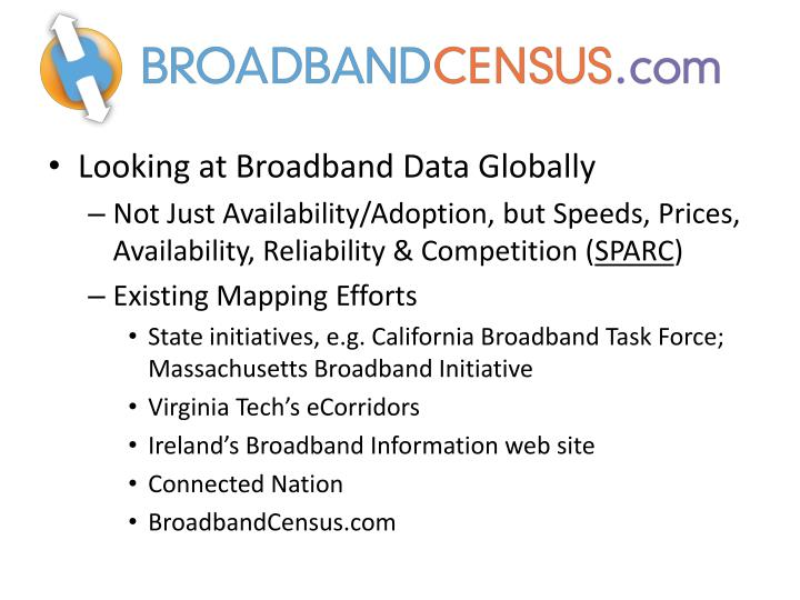 Looking at Broadband Data Globally
